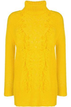 Onefifteen Damen Strickpullover - Pullover mit Rüschen