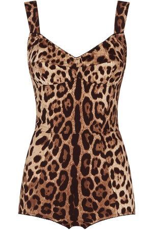 Dolce & Gabbana Damen Dessous-Bodys - Body mit Leoparden-Print