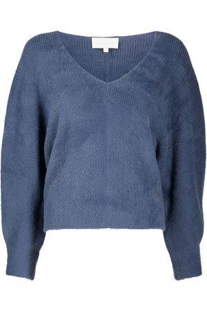 Michelle Mason Damen Sweatshirts - Oversized-Sweatshirt mit V-Ausschnitt