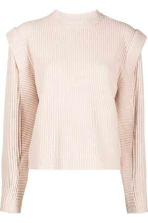Michelle Mason Damen Strickpullover - Pullover mit Kontrasteinsätzen