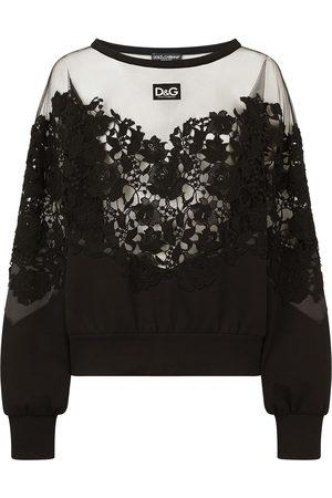 Dolce & Gabbana Damen Strickpullover - Pullover mit Spitze