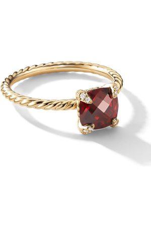 David Yurman 18kt Chatelaine Gelbgoldring mit Granat und Diamanten