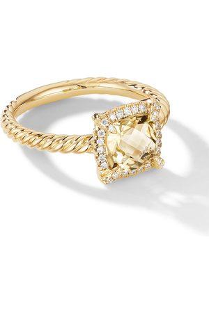 David Yurman Damen Ringe - Petite 18kt Chatelaine Gelbgoldring mit Diamanten-Pavé und Zitrin