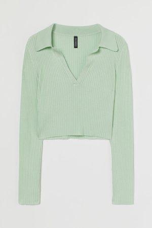 H&M Geripptes Shirt mit Kragen