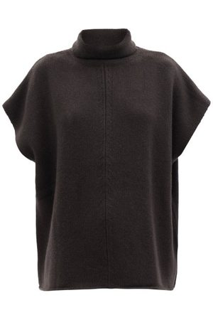 Allude Roll-neck Short-sleeved Wool-blend Sweater