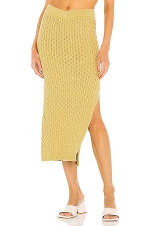 L'Academie Billie V Waist Midi Skirt in . Size M, S, XL, XS, XXS.