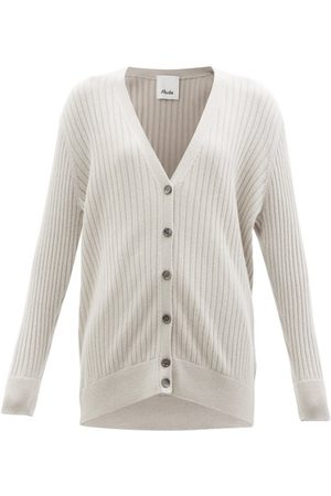 Allude V-neck Ribbed-cashmere Cardigan