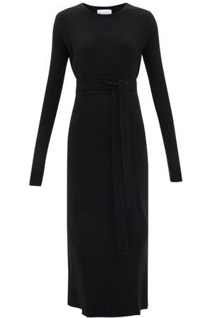 Raey Recycled-cashmere Blend Belted Crew-neck Dress