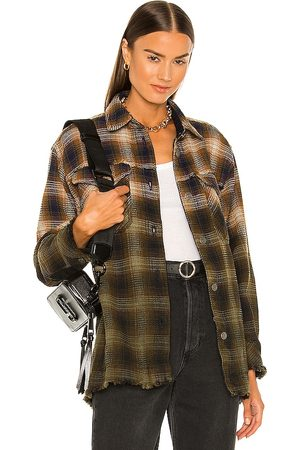 Free People Anneli Plaid Shirt Jacket in ,Olive. Size M, S, XL, XS.