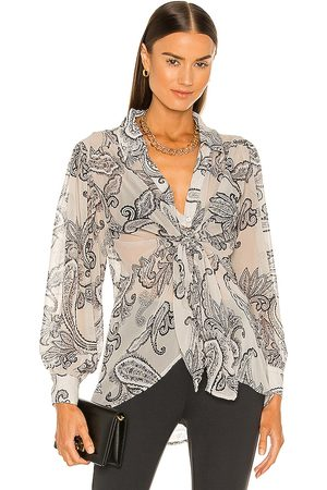 LINE & DOT Isabel Paisley Print Tie Blouse in . Size M, S, XS.