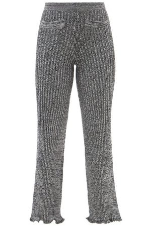 Paco Rabanne Ribbed-knit Wool-blend Flared Trousers