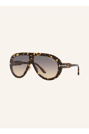 Tom Ford Brillenform: Monoscheibe. Label-Schriftzug auf dem Steg. 100% UV-Schutz. Inkl. Brillenetui und Brillenbeutel. Made in Italy. Maße bei Größe 61:- Gesamtbreite: 148 mm- Bügellänge: 140 mm- Glashöhe: 50 mm- Glasbreite: 61 mm- Stegbreite: 10 mm