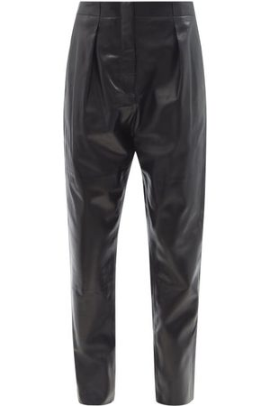 Tom Ford Pleated High-rise Plongé-leather Trousers