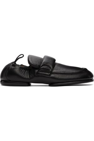 Dries Van Noten Herren Halbschuhe - Black Grained Leather Padded Loafers