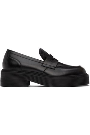 Marni Black Leather Penny Loafers