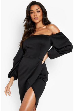 Boohoo Womens Scuba Bardot Long Sleeve Wrap Mini Dress - - 34