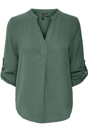 VERO MODA Damen Blusen - V-ausschnitt Bluse Mit 3/4 Ärmeln Damen
