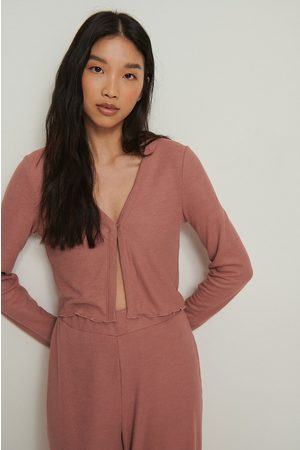 NA-KD Recycled Babylock Waffle Loungewear Top - Pink