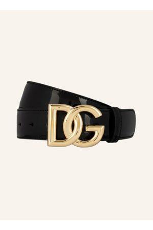 Dolce & Gabbana Lackleder. Goldfarbene Metalldetails. Logo-Schließe. Made in Italy. - Breite: 3,5 cm