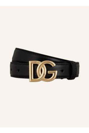Dolce & Gabbana Glattleder. Goldfarbene Metalldetails. Logo-Schließe. Made in Italy. - Breite: 2,5 cm