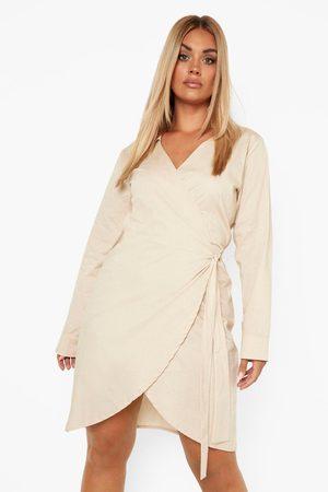 Boohoo Damen Kleider - Womens Plus Woven Poplin Wrap Dress - - 42