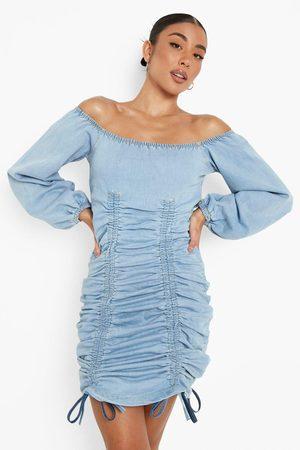 Boohoo Damen Kleider - Womens Ruched Down Balloon Sleeve Bardot Denim Dress - - 32