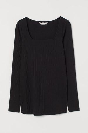 H&M MAMA Geripptes Baumwollshirt