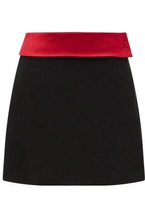 Maximilian A-line Satin-belt Felt Mini Skirt