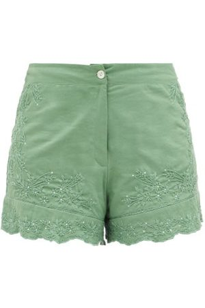 Juliet Dunn Floral-embroidered High-rise Cotton Shorts