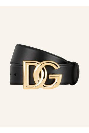 Dolce & Gabbana Glattleder. Goldfarbene Metalldetails. Steckschließe mit verschlungenen Label-Initialen. Made in Italy. - Breite: 4 cm