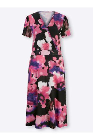 Ashley Brooke Damen Freizeitkleider - Jersey-Kleid in -magenta-bedruckt von