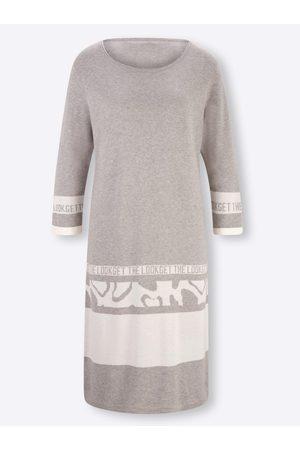 Rick Cardona Damen Strickkleider - Strickkleid in steingrau-weiß-gemustert von