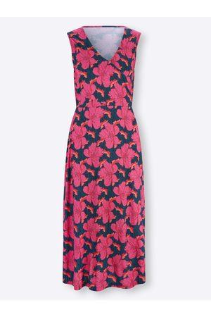 Ashley Brooke Damen Freizeitkleider - Jersey-Kleid in dunkelblau-fuchsia-bedruckt von