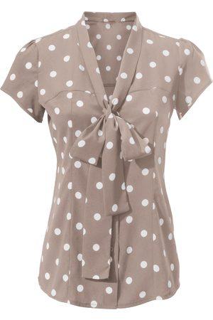 Ashley Brooke Damen Blusen - Tupfenbluse in taupe-weiß von