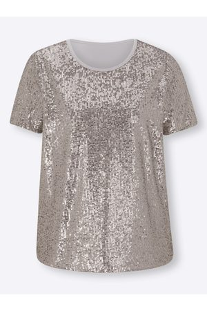 Patrizia Dini Damen T-Shirts, Polos & Longsleeves - Paillettenshirt in silberfarben von