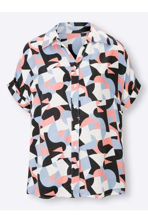 Rick Cardona Druckbluse in bleu-flamingo-bedruckt von