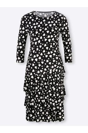 Ashley Brooke Damen Freizeitkleider - Jersey-Kleid in -weiß-bedruckt von