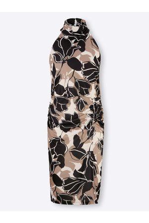 Ashley Brooke Jersey-Kleid in champagner-dunkeltaupe-bedruckt von