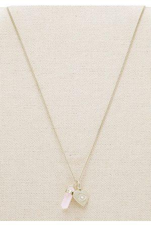 Fossil Halsketten - Kette mit Anhänger in gelbgoldfarben- -weiß von