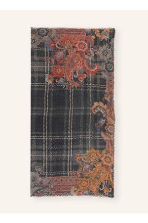 MALA ALISHA Feine Fransen an den Kanten. Floraler Muster-Print allover. Weiche Haptik. Verarbeitung aus Wolle mit Cashmere. - 130 x 130 cm (L x B)