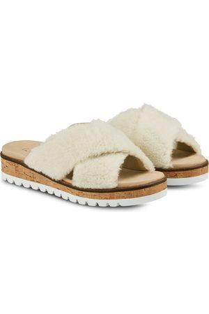LaShoe Damen Hausschuhe - Pantoffel mit Kreuzriemen Offwhite 36