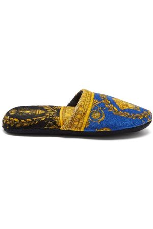 Versace Baroque-print Cotton-terry Slippers
