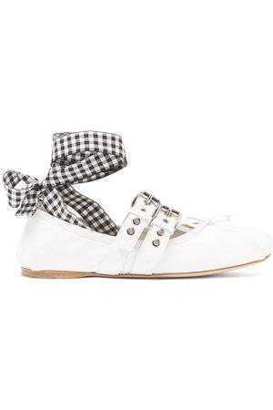 Miu Miu Ribbon-strap Buckled Patent-leather Ballet Flats