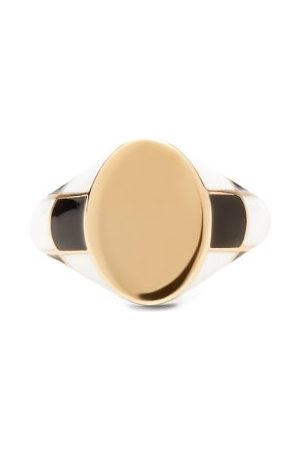 Alison Lou Checker Enamel And 14kt Signet Ring