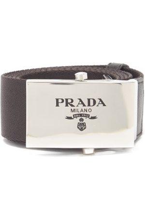 Prada Logo-engraved Leather-trimmed Canvas Belt