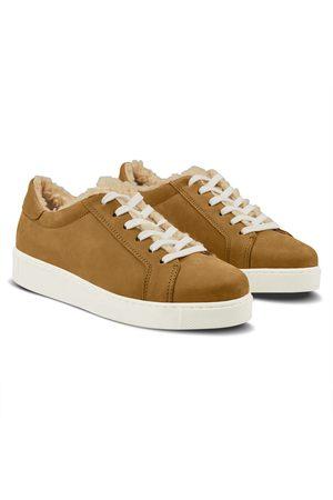 LaShoe Damen Sneakers - Sneaker Retro mit Curly Fleece Cognac 36