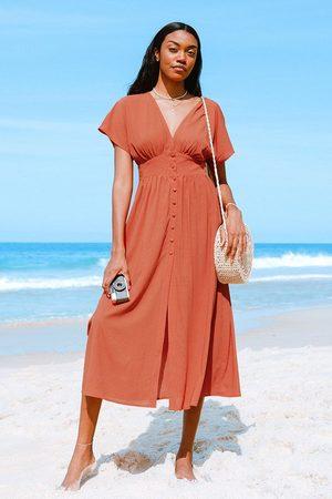 Cupshe Damen Strandkleider - Geschlitztes Kleid mit Knopfleiste vorne