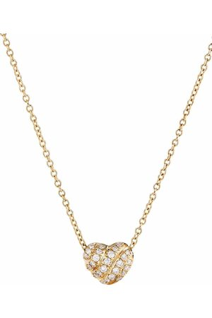 David Yurman 18kt Gelbgoldhalskette mit Diamant-Herzanhänger