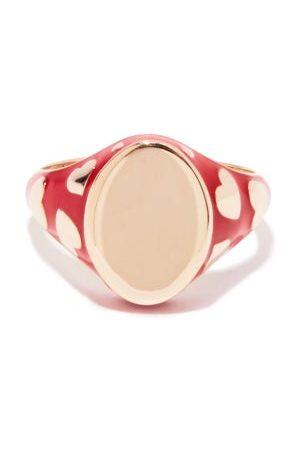 ALISON LOU Amour 14kt & Enamel Signet Ring