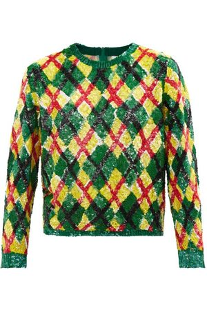 ASHISH Argyle-sequinned Georgette Top